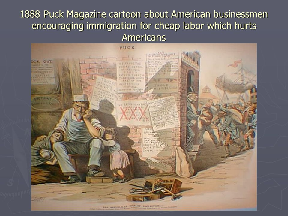 1888 Puck Magazine cartoon about American businessmen encouraging immigration for cheap labor which hurts Americans