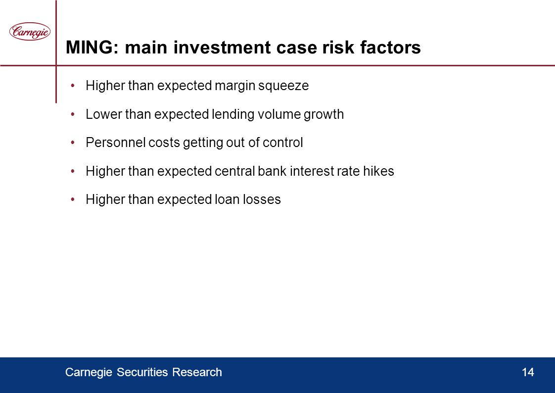 Carnegie Securities Research14 MING: main investment case risk factors Higher than expected margin squeeze Lower than expected lending volume growth Personnel costs getting out of control Higher than expected central bank interest rate hikes Higher than expected loan losses