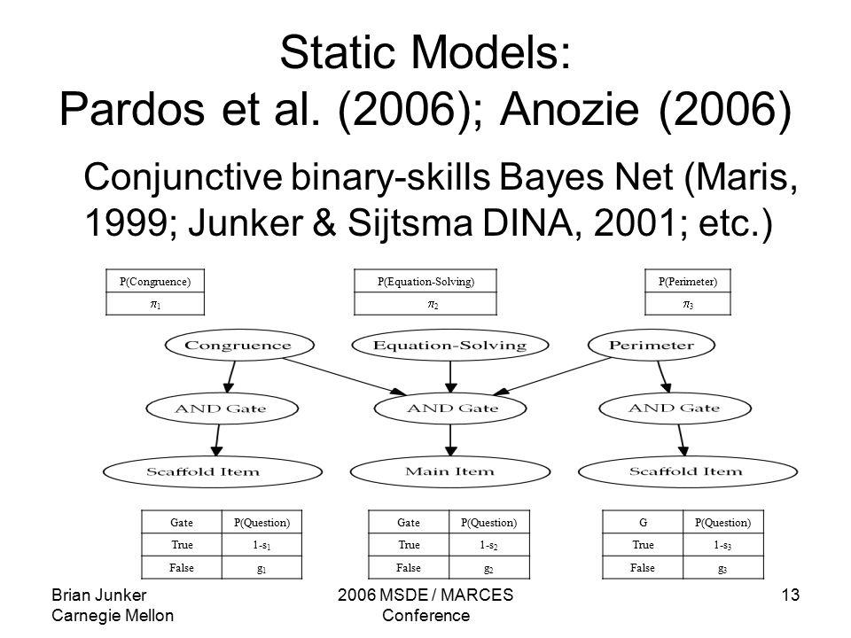 Brian Junker Carnegie Mellon 2006 MSDE / MARCES Conference 13 Static Models: Pardos et al.