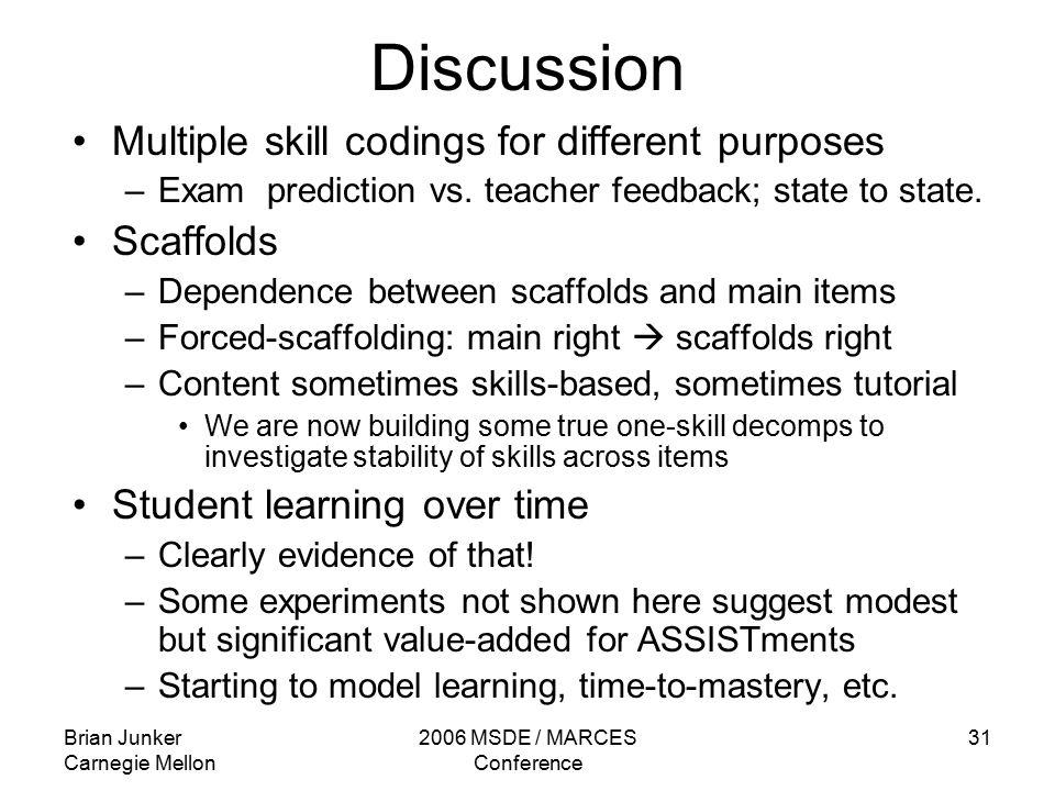 Brian Junker Carnegie Mellon 2006 MSDE / MARCES Conference 31 Discussion Multiple skill codings for different purposes –Exam prediction vs.