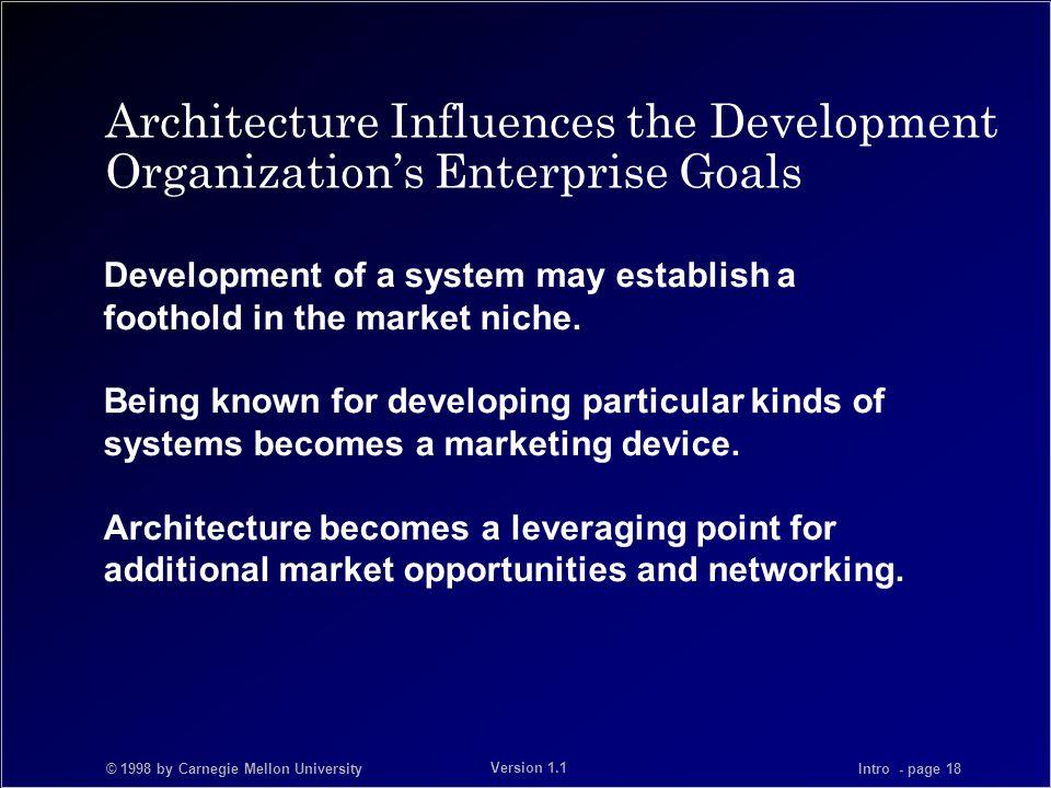 © 1998 by Carnegie Mellon University Intro - page 18 Version 1.1 Architecture Influences the Development Organization's Enterprise Goals Development o