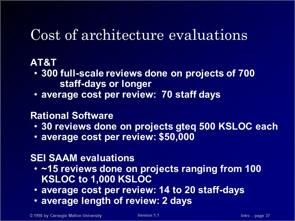 © 1998 by Carnegie Mellon University Intro - page 37 Version 1.1 Cost of architecture evaluations AT&T 300 full-scale reviews done on projects of 700 staff-days or longer average cost per review: 70 staff days Rational Software 30 reviews done on projects gteq 500 KSLOC each average cost per review: $50,000 SEI SAAM evaluations ~15 reviews done on projects ranging from 100 KSLOC to 1,000 KSLOC average cost per review: 14 to 20 staff-days average length of review: 2 days