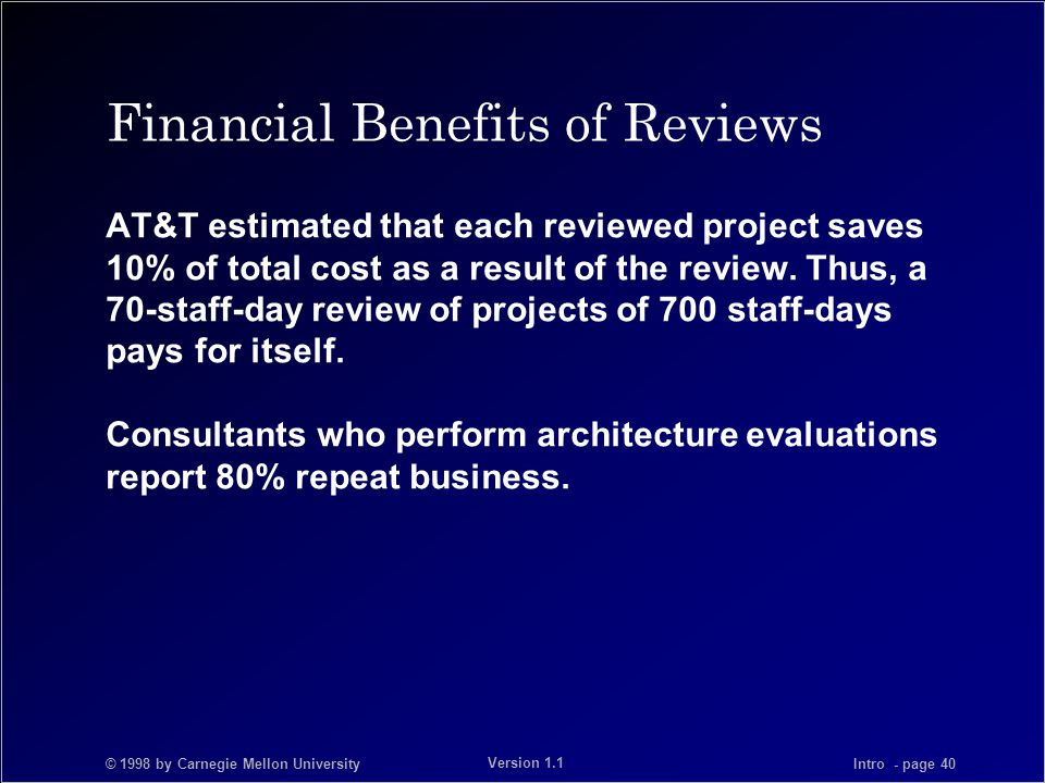 © 1998 by Carnegie Mellon University Intro - page 40 Version 1.1 Financial Benefits of Reviews AT&T estimated that each reviewed project saves 10% of total cost as a result of the review.