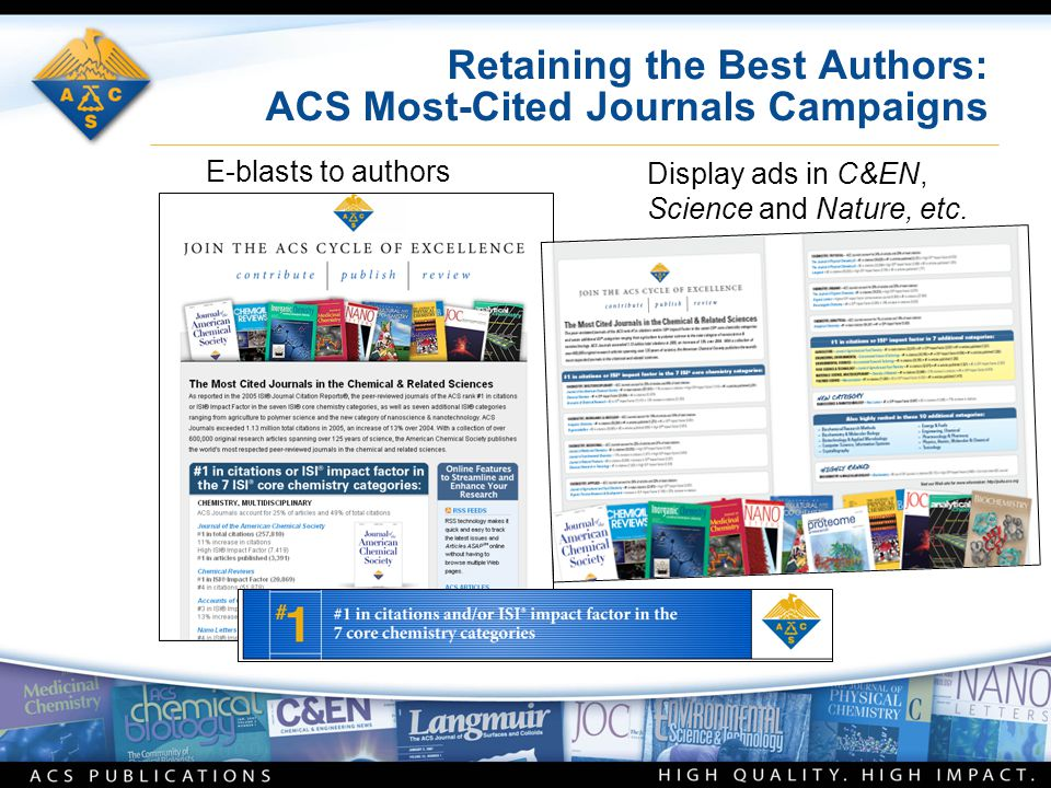 Retaining the Best Authors: ACS Most-Cited Journals Campaigns E-blasts to authors Display ads in C&EN, Science and Nature, etc.