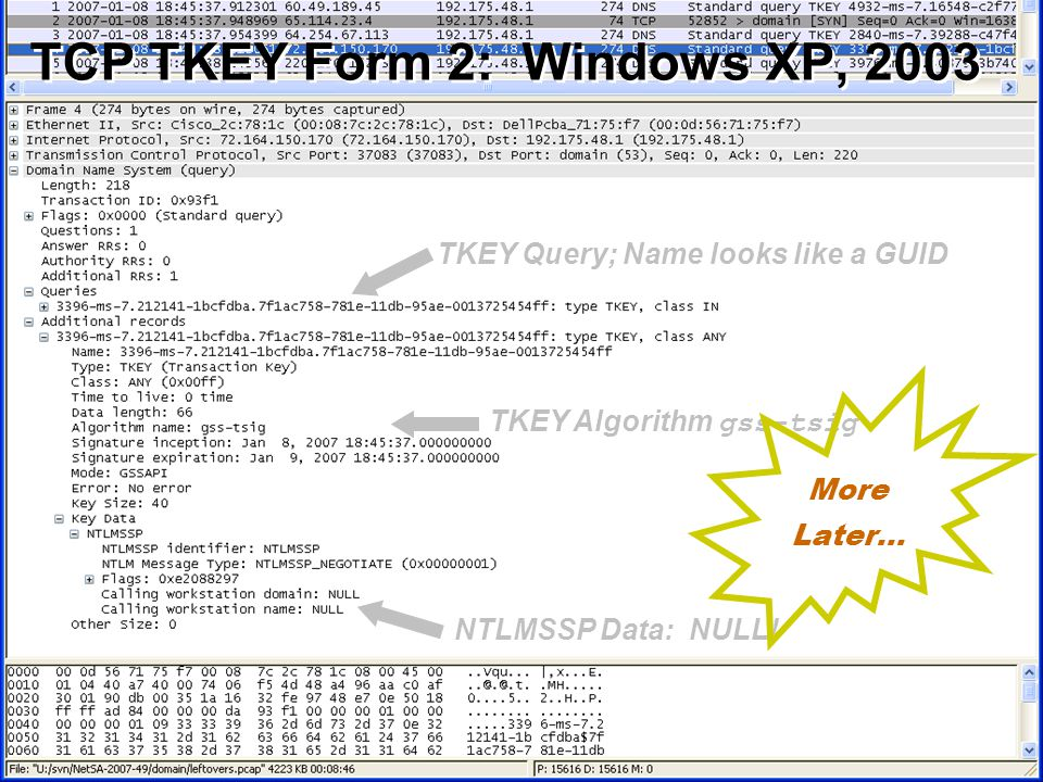 38 © 2007 Carnegie Mellon University TCP TKEY Form 2: Windows XP, 2003 TKEY Query; Name looks like a GUID TKEY Algorithm gss-tsig NTLMSSP Data: NULL.