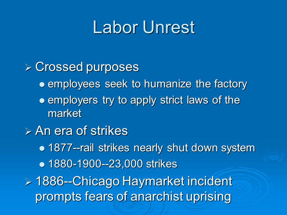Labor Unrest  Crossed purposes employees seek to humanize the factory employees seek to humanize the factory employers try to apply strict laws of th