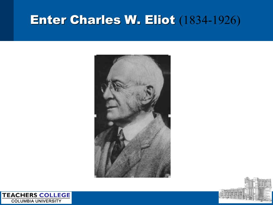 Enter Charles W. Eliot Enter Charles W. Eliot (1834-1926)