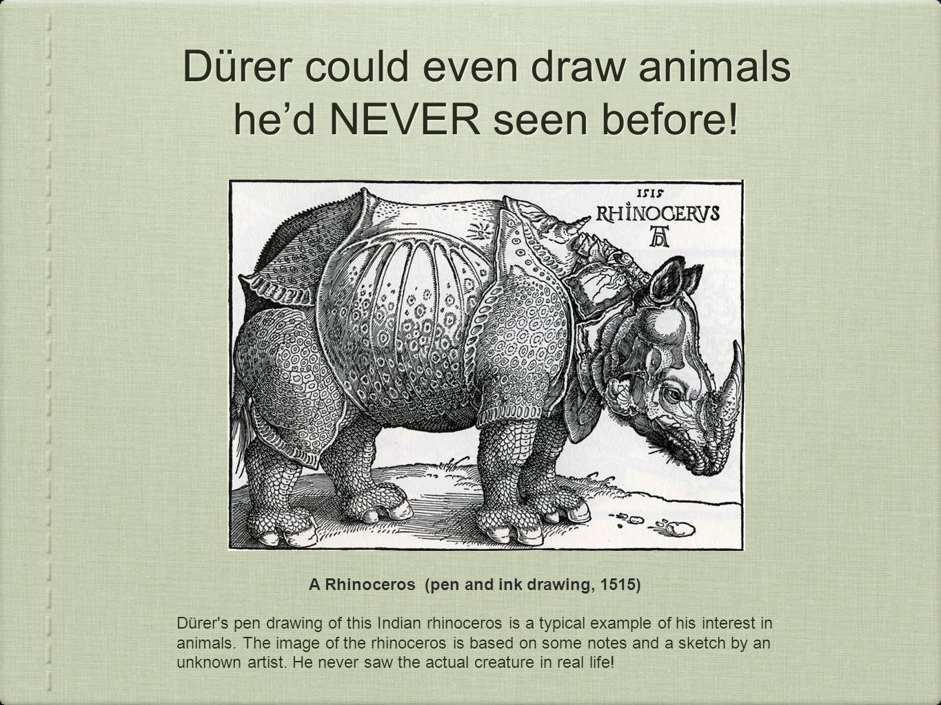 Dürer could even draw animals he'd NEVER seen before.