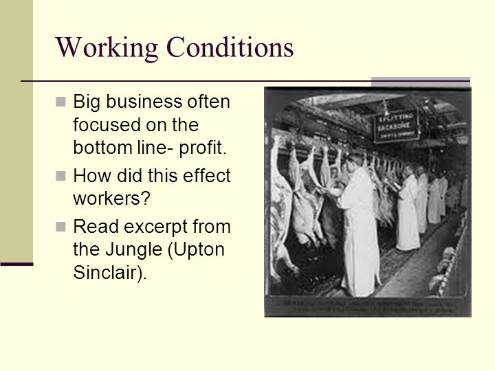 Working Conditions Big business often focused on the bottom line- profit. How did this effect workers? Read excerpt from the Jungle (Upton Sinclair).