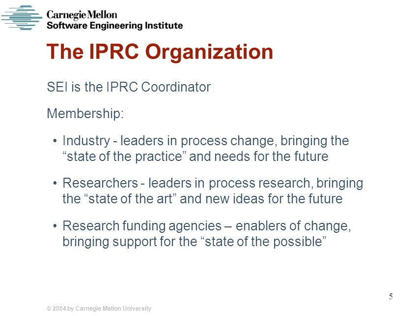 © 2004 by Carnegie Mellon University 5 The IPRC Organization SEI is the IPRC Coordinator Membership: Industry - leaders in process change, bringing the state of the practice and needs for the future Researchers - leaders in process research, bringing the state of the art and new ideas for the future Research funding agencies – enablers of change, bringing support for the state of the possible