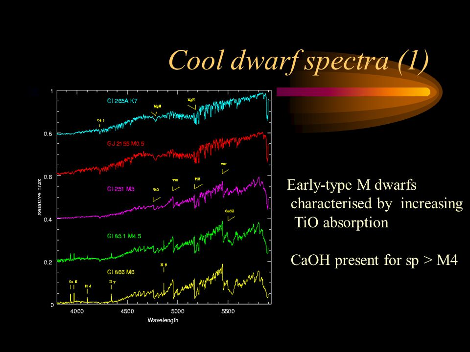 Cool dwarf spectra (1) Early-type M dwarfs characterised by increasing TiO absorption CaOH present for sp > M4