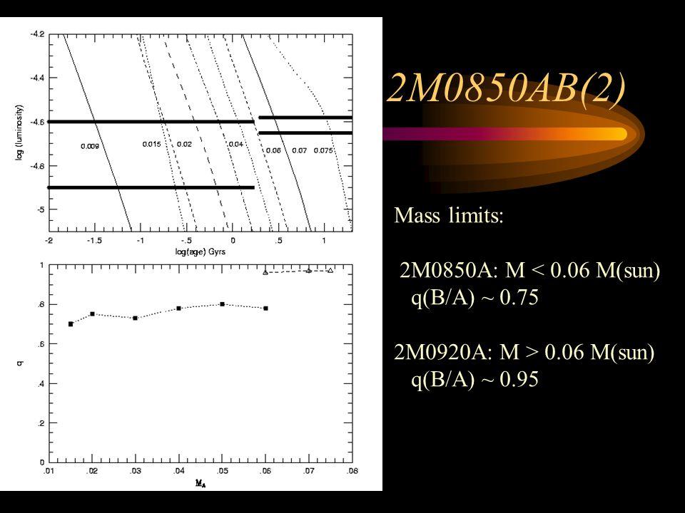 2M0850AB(2) Mass limits: 2M0850A: M < 0.06 M(sun) q(B/A) ~ 0.75 2M0920A: M > 0.06 M(sun) q(B/A) ~ 0.95
