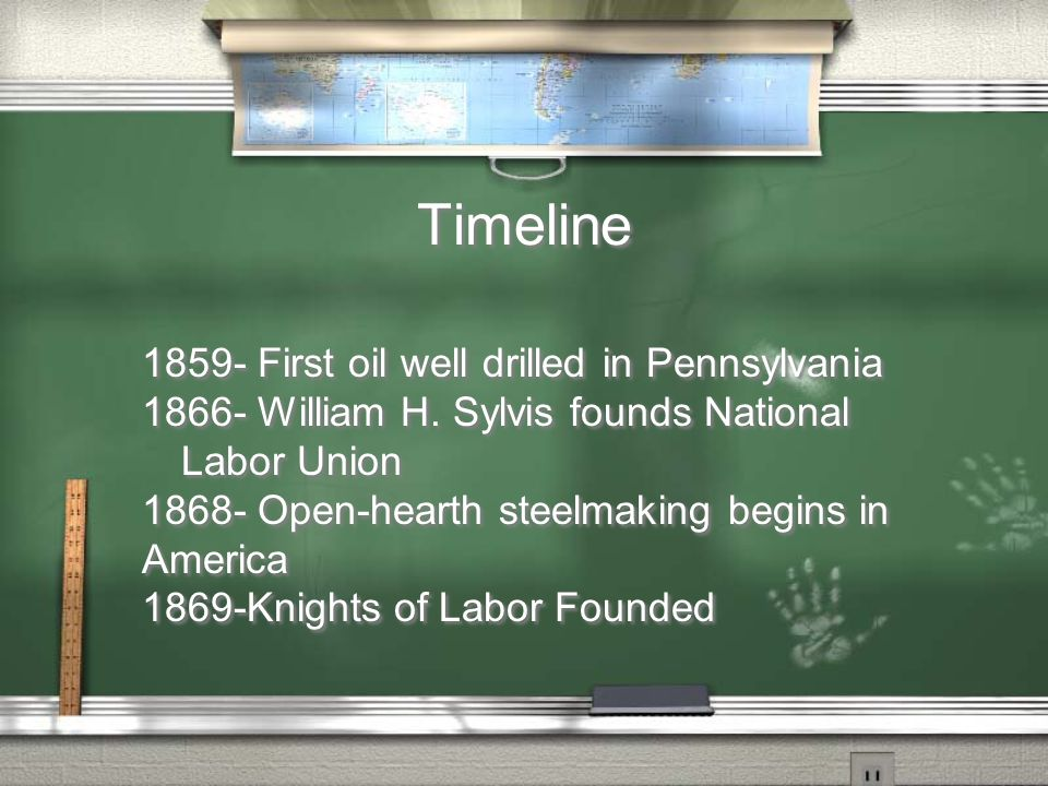 Timeline 1859- First oil well drilled in Pennsylvania 1866- William H.