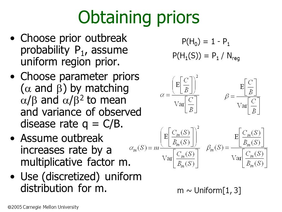 2005 Carnegie Mellon University Obtaining priors Choose prior outbreak probability P 1, assume uniform region prior.