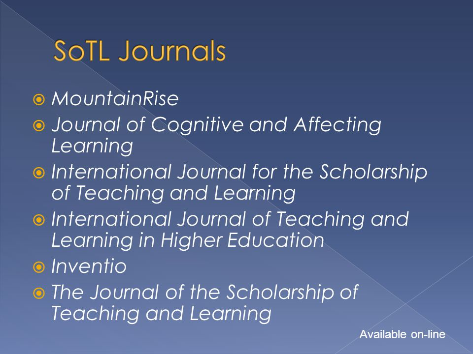  MountainRise  Journal of Cognitive and Affecting Learning  International Journal for the Scholarship of Teaching and Learning  International Jour