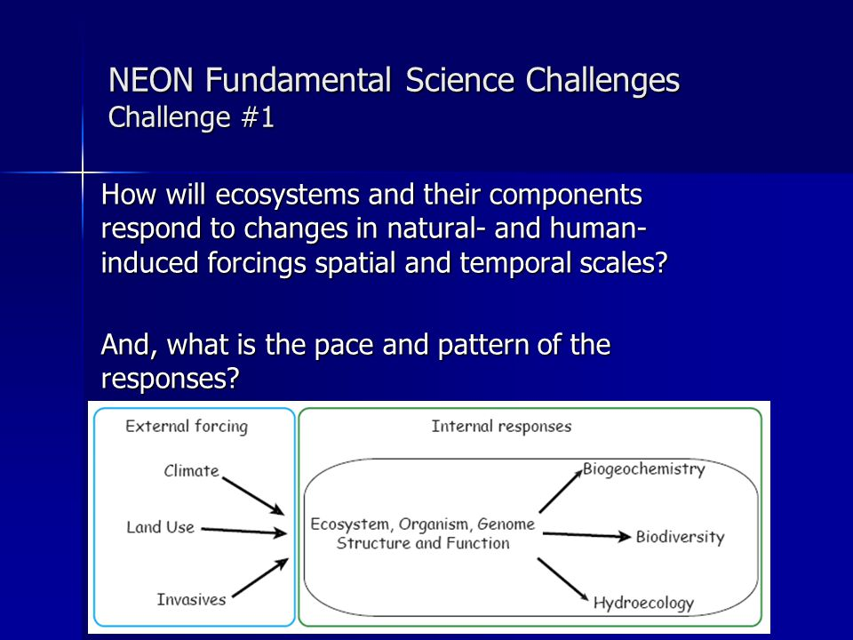 NEON Fundamental Science Challenges Challenge #2 How do the internal responses and feedbacks of biogeochemistry, biodiversity, hydroecology and biotic structure and function interact with changes in climate, land use, and invasive species?