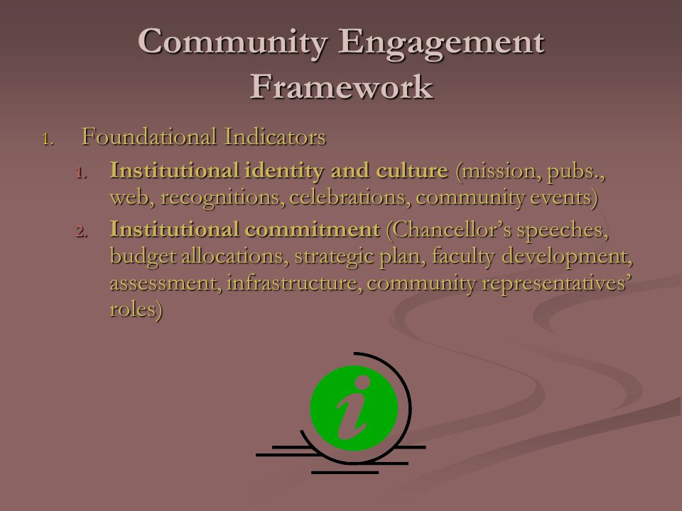 Community Engagement Framework 1. Foundational Indicators 1.