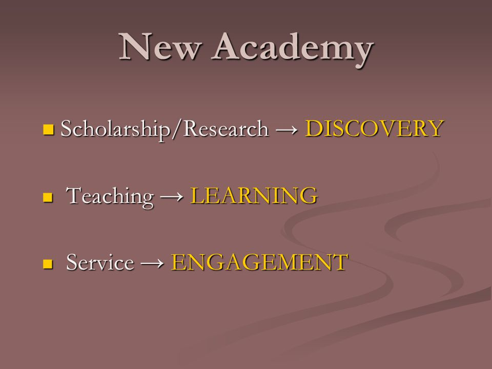 New Academy Scholarship/Research → DISCOVERY Scholarship/Research → DISCOVERY Teaching → LEARNING Teaching → LEARNING Service → ENGAGEMENT Service → ENGAGEMENT