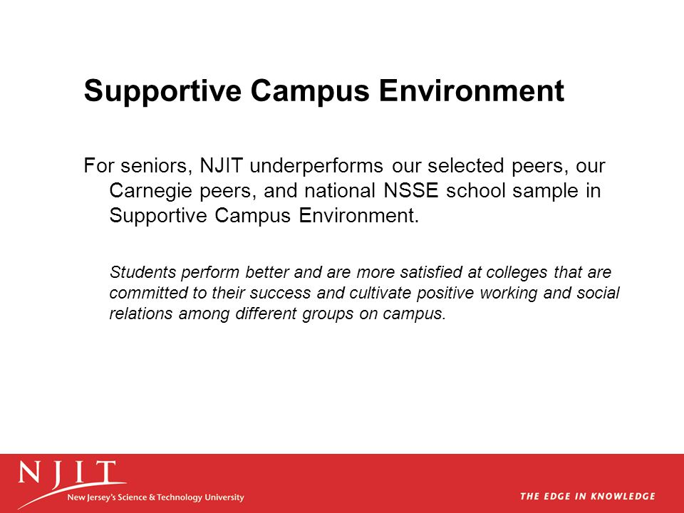 Supportive Campus Environment For seniors, NJIT underperforms our selected peers, our Carnegie peers, and national NSSE school sample in Supportive Ca