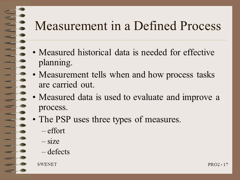SWENET PRO2 - 17 Measurement in a Defined Process Measured historical data is needed for effective planning. Measurement tells when and how process ta