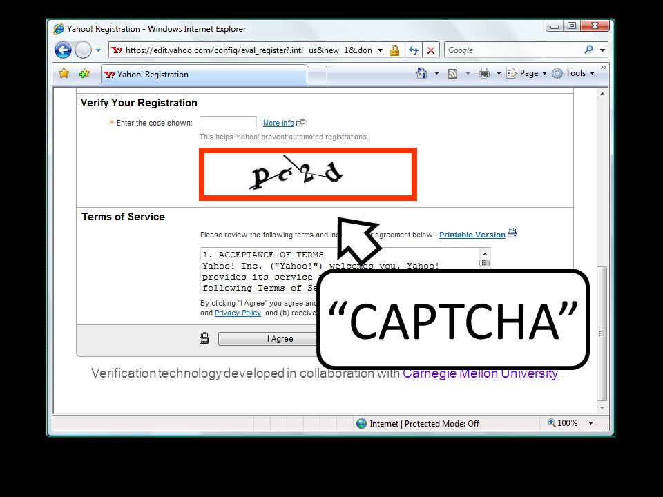 "Verification technology developed in collaboration with Carnegie Mellon University ""CAPTCHA"""