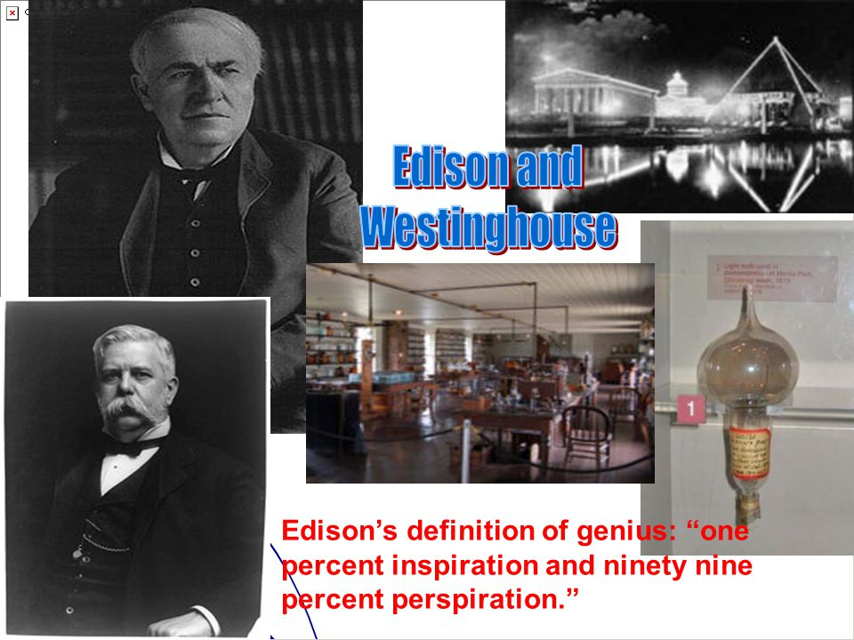 Edison's definition of genius: one percent inspiration and ninety nine percent perspiration.