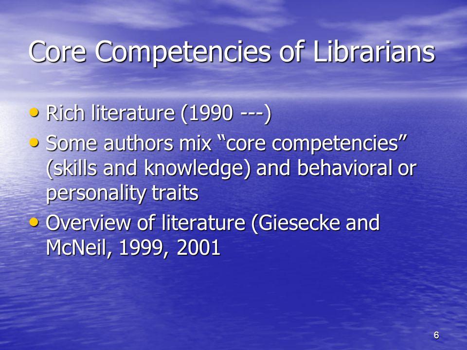 7 Core Competencies of Librarians Academic librarians (Grealy, 1998) Academic librarians (Grealy, 1998) Public librarians (Naylor, 2000) Public librarians (Naylor, 2000) Special librarians (Ojala, 1995; Jones Special librarians (Ojala, 1995; Jones Reference librarians (Bell, 2003) Reference librarians (Bell, 2003) Acquisitions librarians (Fisher, 2001) Acquisitions librarians (Fisher, 2001) Information professionals (Webber, 1999) Information professionals (Webber, 1999) Law librarians (Jones, 1998; AALL, 2001) Law librarians (Jones, 1998; AALL, 2001) Medical librarians (Moore, 2000) Medical librarians (Moore, 2000) Music librarians (Hunter, 2000) Music librarians (Hunter, 2000)