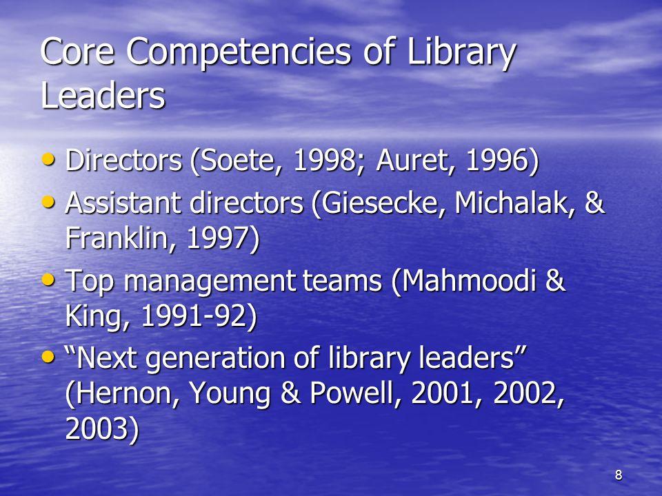 8 Core Competencies of Library Leaders Directors (Soete, 1998; Auret, 1996) Directors (Soete, 1998; Auret, 1996) Assistant directors (Giesecke, Michalak, & Franklin, 1997) Assistant directors (Giesecke, Michalak, & Franklin, 1997) Top management teams (Mahmoodi & King, 1991-92) Top management teams (Mahmoodi & King, 1991-92) Next generation of library leaders (Hernon, Young & Powell, 2001, 2002, 2003) Next generation of library leaders (Hernon, Young & Powell, 2001, 2002, 2003)