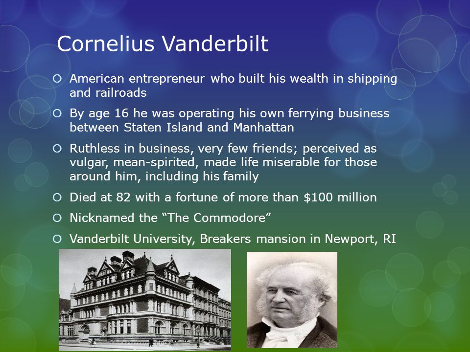 Trusts and Monopolies  entrepreneurs controlled competition by forming a monopoly; bought out competitors or drove them out of business  trusts were another type of monopoly  Rockefeller created the Standard Oil trust to almost completely control the oil industry.