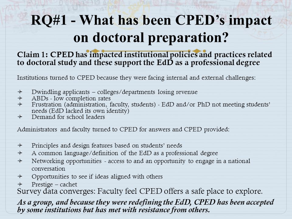 RQ#1 - What has been CPED's impact on doctoral preparation? Claim 1: CPED has impacted institutional policies and practices related to doctoral study