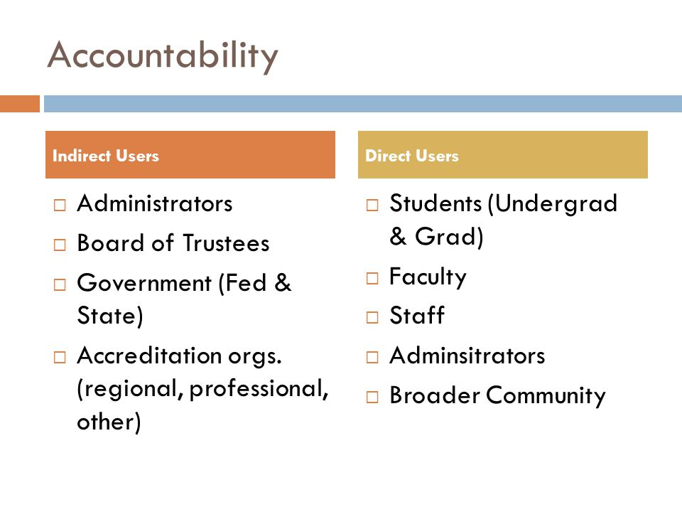 Accountability  Administrators  Board of Trustees  Government (Fed & State)  Accreditation orgs.