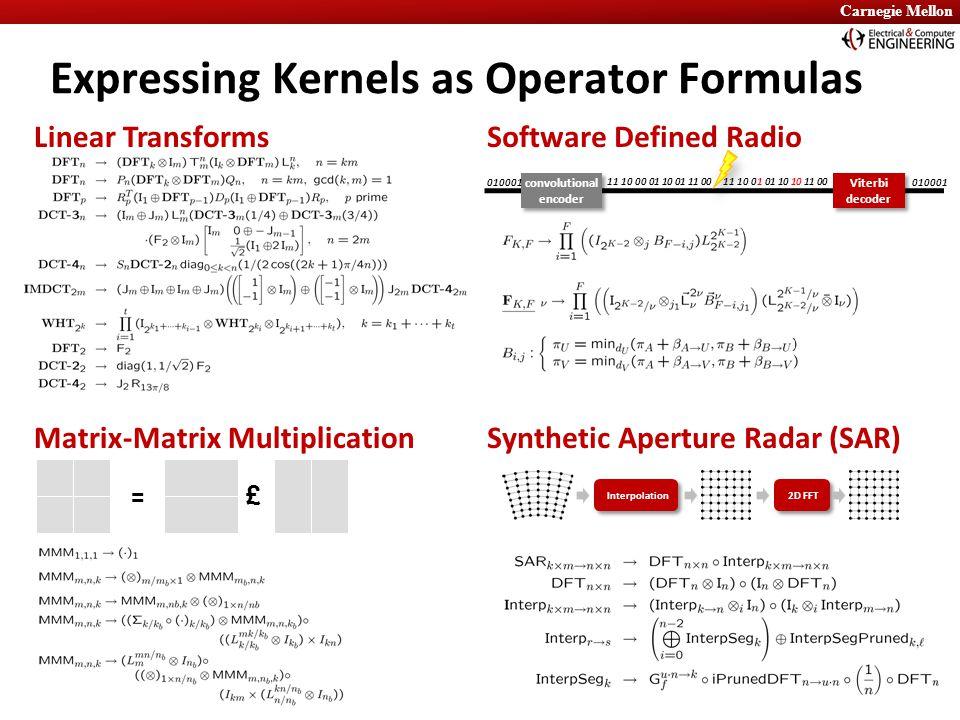 Carnegie Mellon Software Defined RadioLinear Transforms Matrix-Matrix MultiplicationSynthetic Aperture Radar (SAR) convolutional encoder Viterbi decoder Viterbi decoder 010001 11 10 00 01 10 01 11 00 010001 11 10 01 01 10 10 11 00 = £ Expressing Kernels as Operator Formulas Interpolation 2D FFT