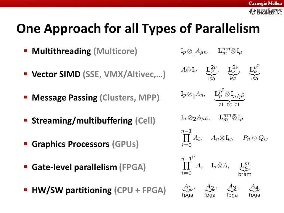 Carnegie Mellon One Approach for all Types of Parallelism  Multithreading (Multicore)  Vector SIMD (SSE, VMX/Altivec,…)  Message Passing (Clusters,