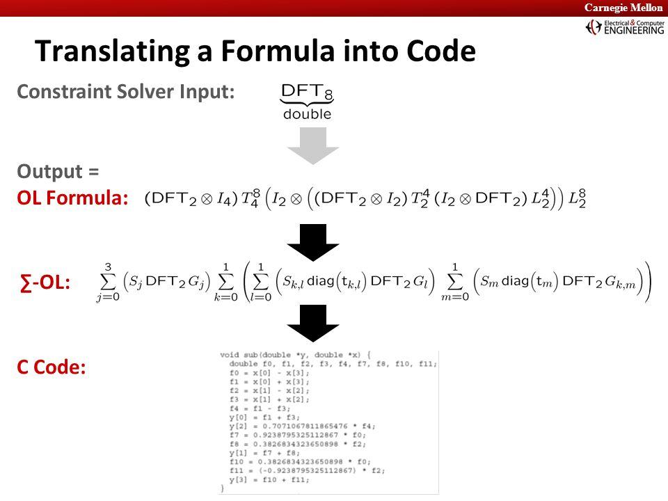 Carnegie Mellon Translating a Formula into Code C Code: Output = OL Formula: ∑-OL: Constraint Solver Input:
