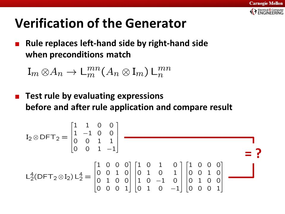 Carnegie Mellon Rule replaces left-hand side by right-hand side when preconditions match Test rule by evaluating expressions before and after rule app