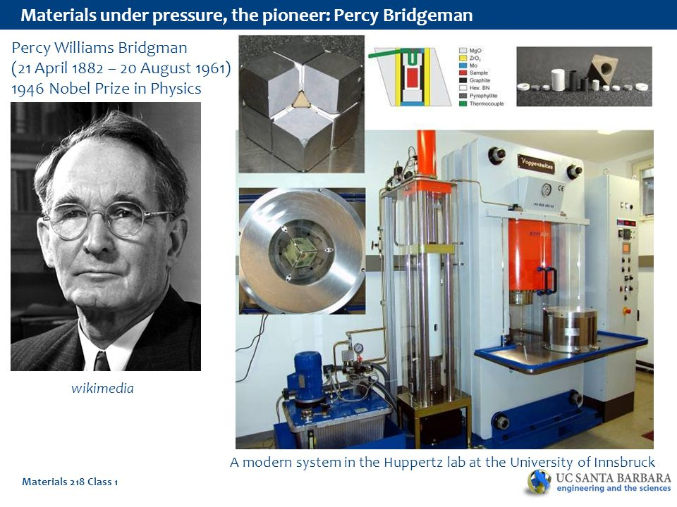 Materials 218 Class 1 Materials under pressure, the pioneer: Percy Bridgeman Percy Williams Bridgman (21 April 1882 – 20 August 1961) 1946 Nobel Prize in Physics wikimedia A modern system in the Huppertz lab at the University of Innsbruck