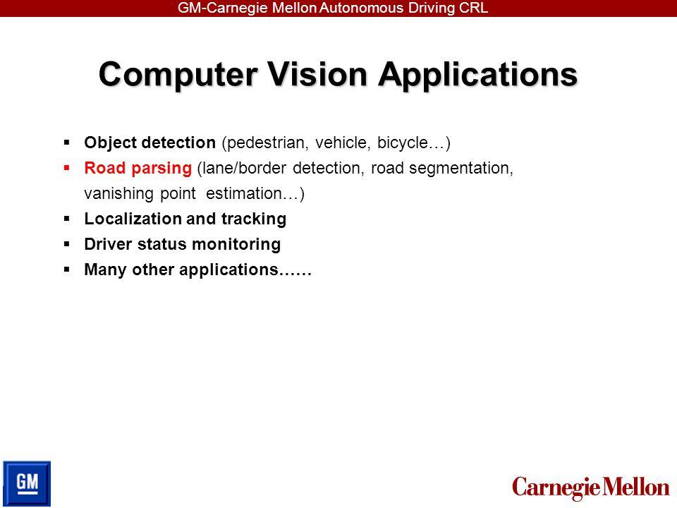 GM-Carnegie Mellon Autonomous Driving CRL Computer Vision Applications  Object detection (pedestrian, vehicle, bicycle…)  Road parsing (lane/border