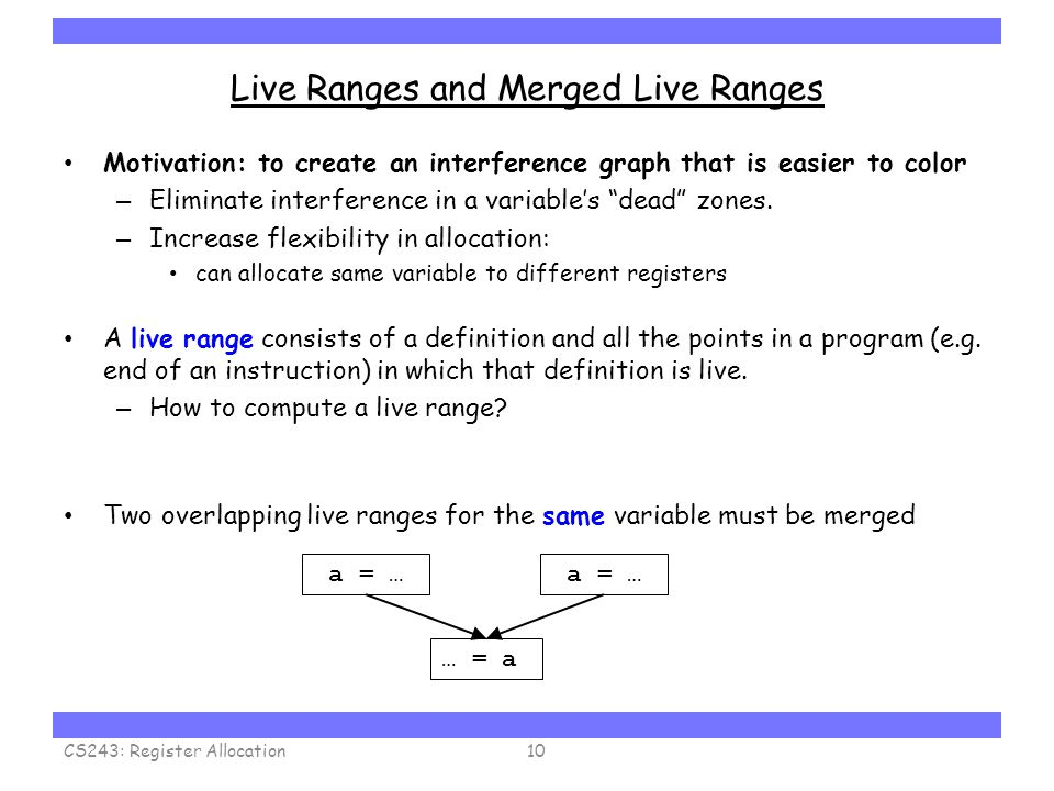 Carnegie Mellon Live Ranges and Merged Live Ranges Motivation: to create an interference graph that is easier to color – Eliminate interference in a variable's dead zones.