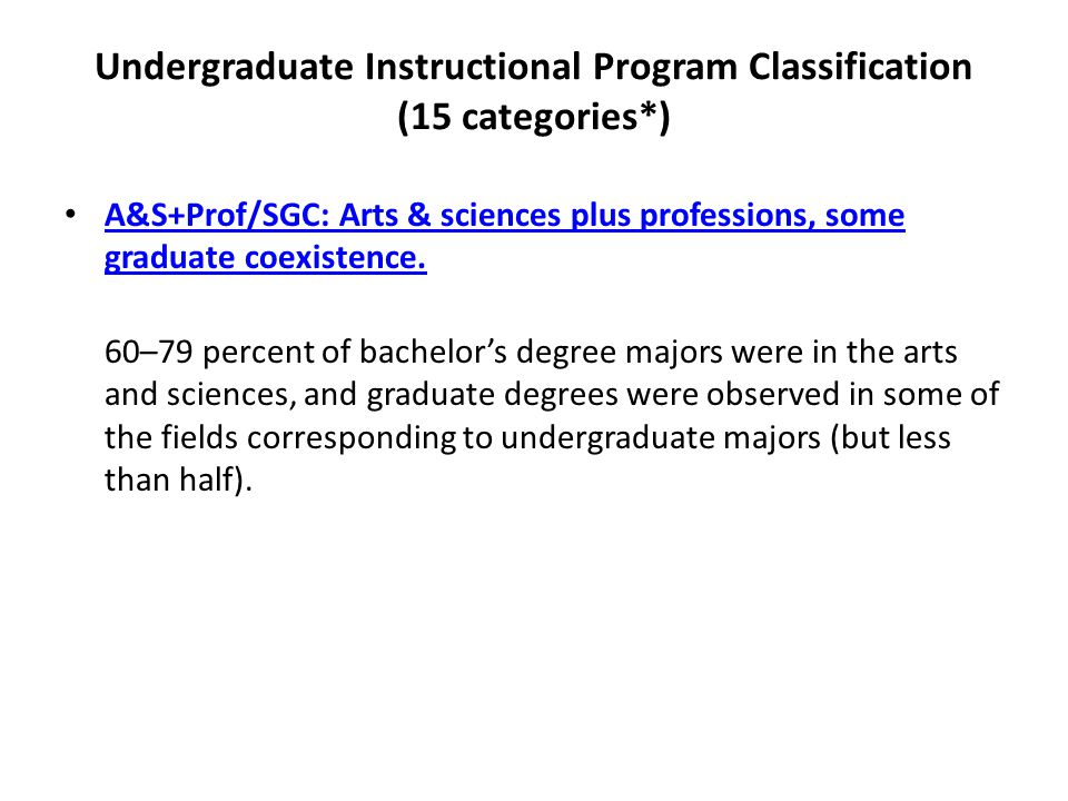 Undergraduate Instructional Program Classification (15 categories*) A&S+Prof/SGC: Arts & sciences plus professions, some graduate coexistence.