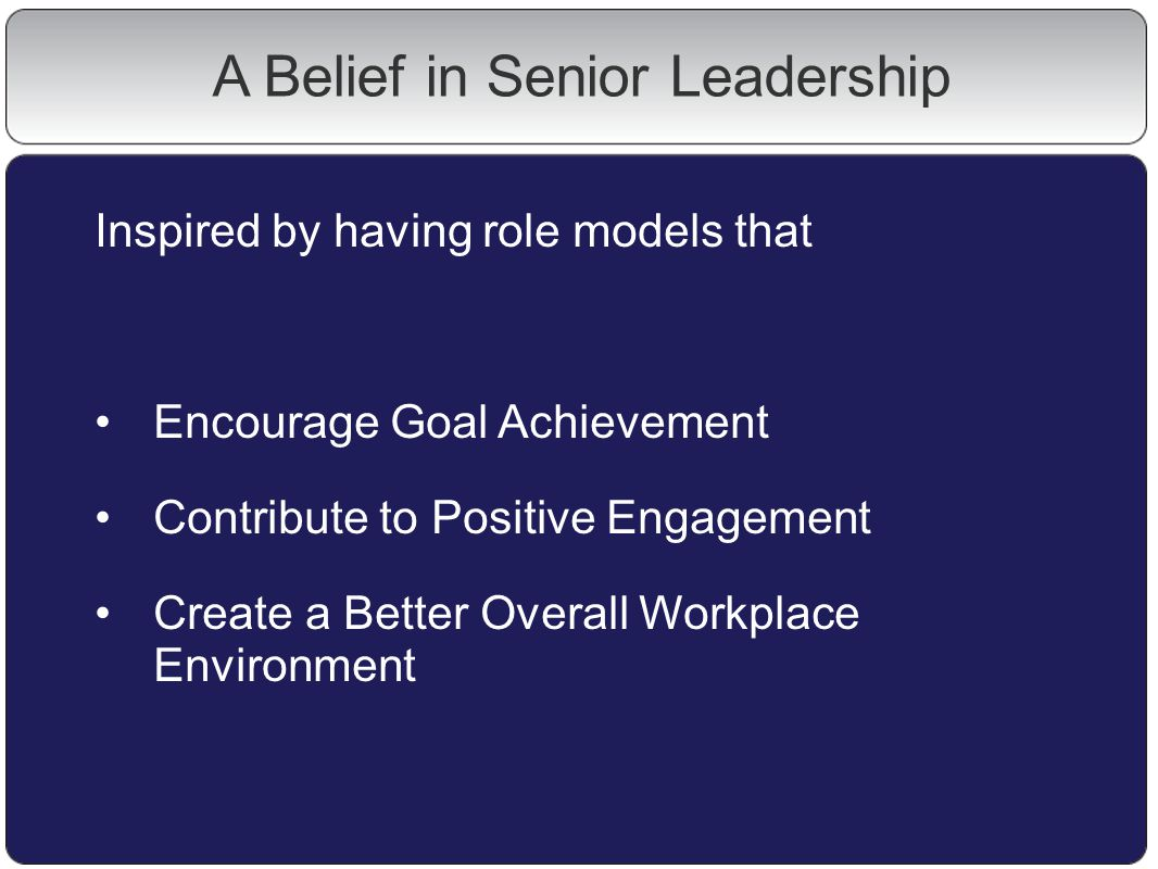 A Belief in Senior Leadership Inspired by having role models that Encourage Goal Achievement Contribute to Positive Engagement Create a Better Overall Workplace Environment