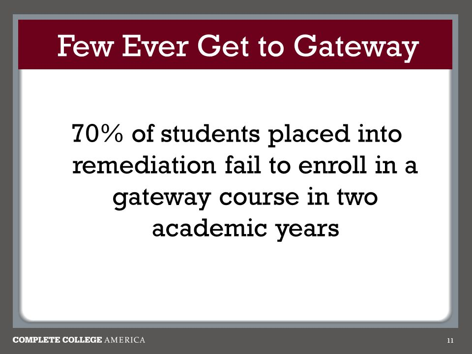 Few Ever Get to Gateway 70% of students placed into remediation fail to enroll in a gateway course in two academic years 11