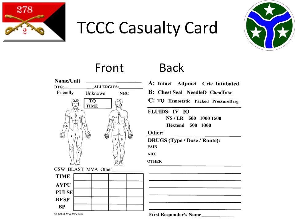 Tactical Combat Casualty Care (TCCC) Card - Combat MedicalCombat ...