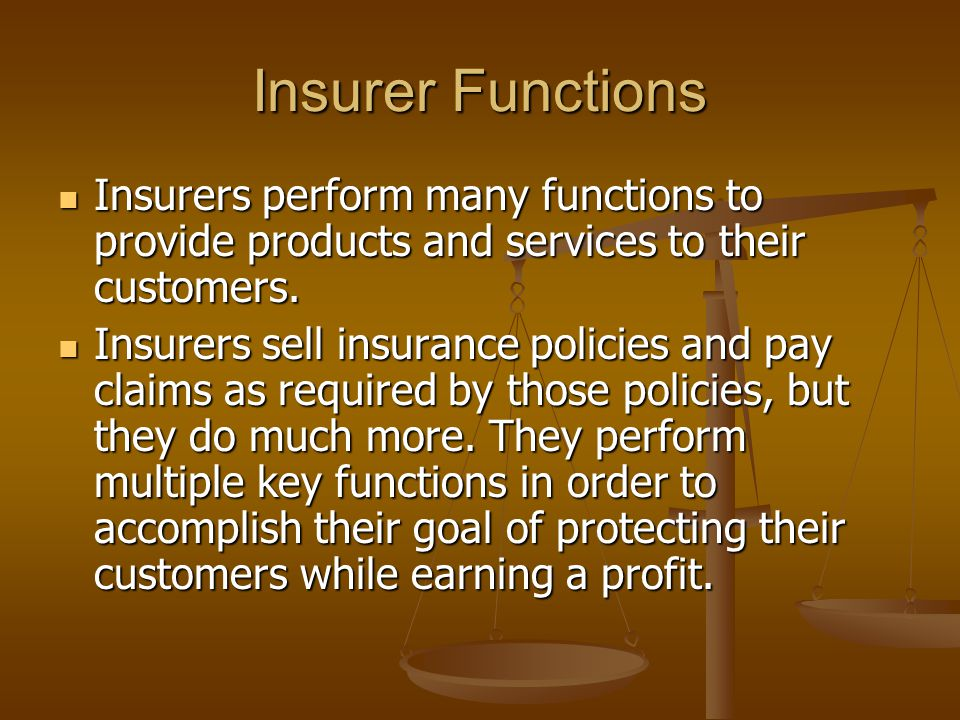 Insurer Functions Insurers perform many functions to provide products and services to their customers.