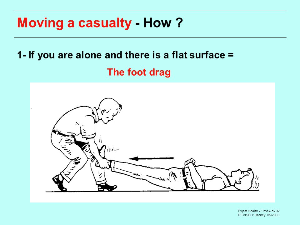 Expat Health - First Aid - 32 REVISED: Barbey 05/2003 Moving a casualty - How .