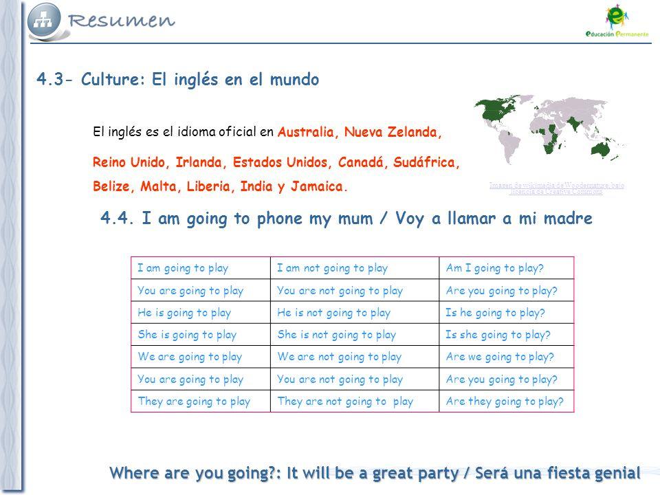 Where are you going : It will be a great party / Será una fiesta genial 4.3- Culture: El inglés en el mundo El inglés es el idioma oficial en Australia, Nueva Zelanda, Reino Unido, Irlanda, Estados Unidos, Canadá, Sudáfrica, Belize, Malta, Liberia, India y Jamaica.
