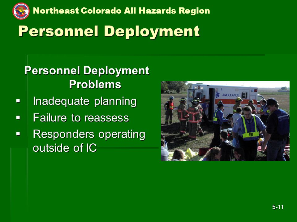 Northeast Colorado All Hazards Region 5-11 Personnel Deployment Personnel Deployment Problems  Inadequate planning  Failure to reassess  Responders operating outside of IC