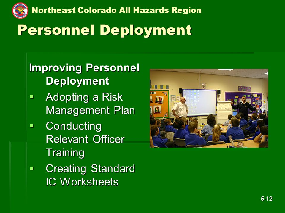 Northeast Colorado All Hazards Region 5-12 Personnel Deployment Improving Personnel Deployment  Adopting a Risk Management Plan  Conducting Relevant Officer Training  Creating Standard IC Worksheets