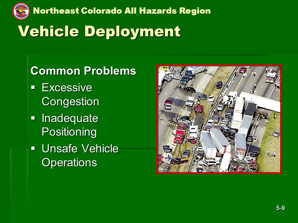 Northeast Colorado All Hazards Region 5-9 Vehicle Deployment Common Problems  Excessive Congestion  Inadequate Positioning  Unsafe Vehicle Operations