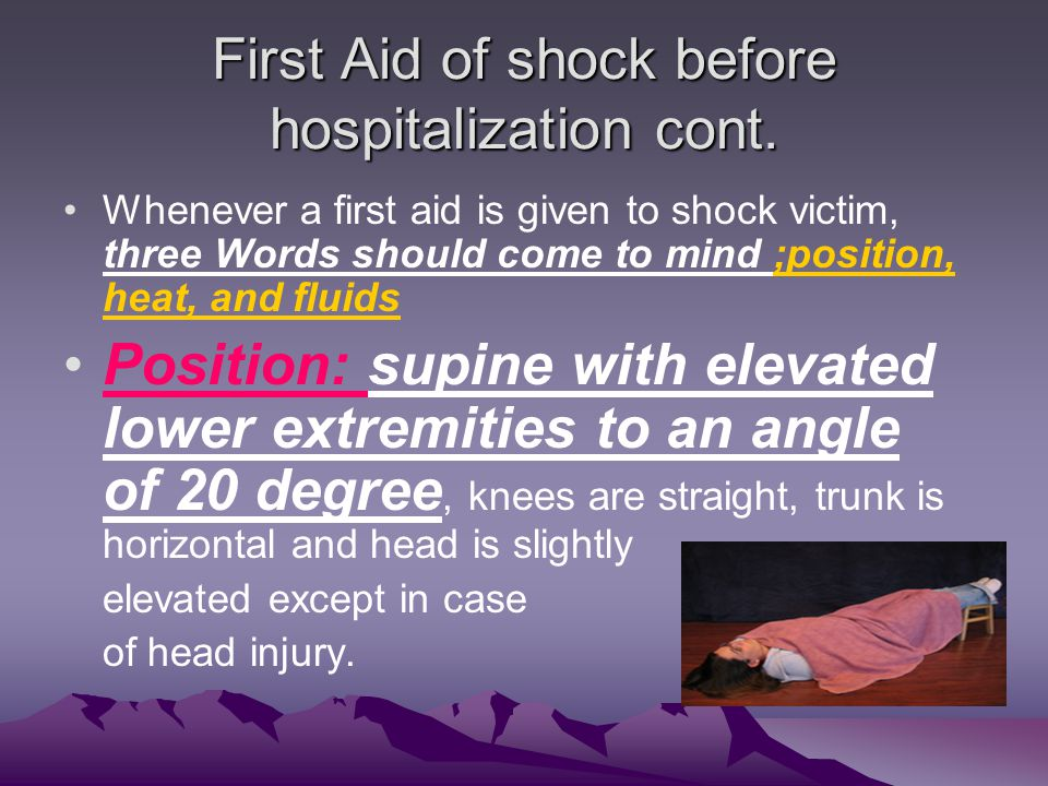 First Aid of shock before hospitalization cont.