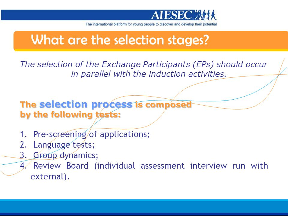 Haga clic para modificar el estilo de texto del patrón Segundo nivel Tercer nivel Cuarto nivel Quinto nivel 10 AIESEC in Spain Induction 07/08 What are the selection stages.